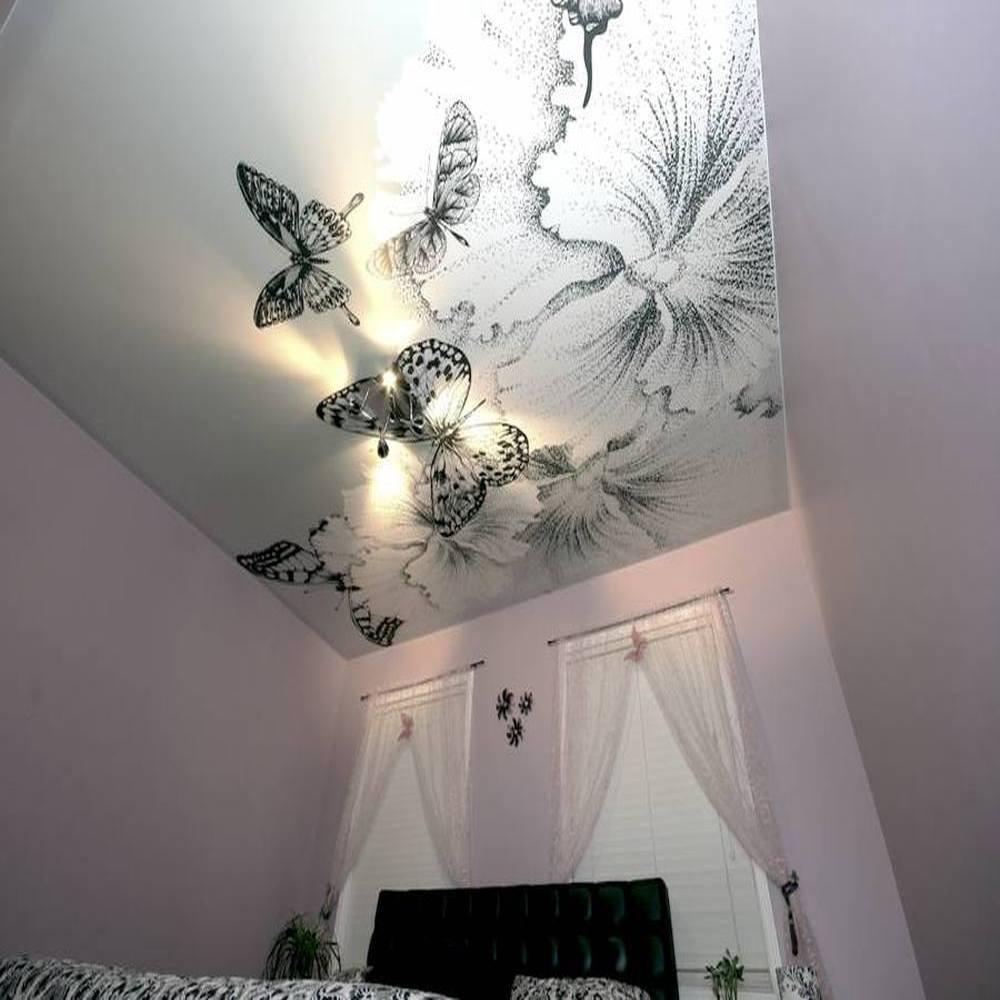 Матовый натяжной потолок с фотопечатью фото